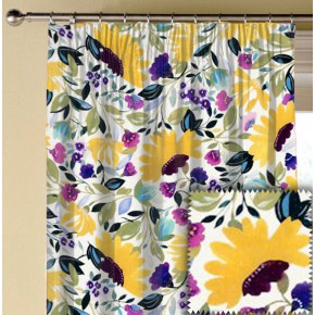 Clarke and Clarke Artbook Isabelles Garden Linen Chartreuse Made to Measure Curtains