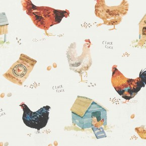 A Village Life  Cluck Cluck  Cream  Curtain Fabric