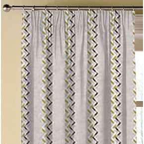 Clarke and Clarke Oslo Norah Chartreuse Charcoal Made to Measure Curtains