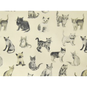 Novelty Cool Cats Charcoal Curtain Fabric