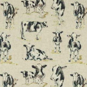 Clarke and Clarke Countryside Cows Linen Curtain Fabric