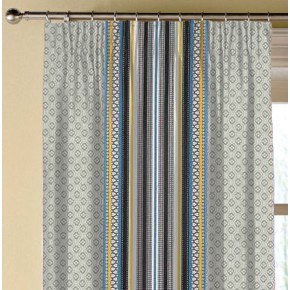 Clarke and Clarke Chateau Paradiso Gold/Aqua Made to Measure Curtains