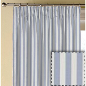 Clarke and Clarke Garden Party Party Stripe Chambray Made to Measure Curtains