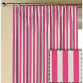 Clarke and Clarke Garden Party Party Stripe Raspberry Made to Measure Curtains