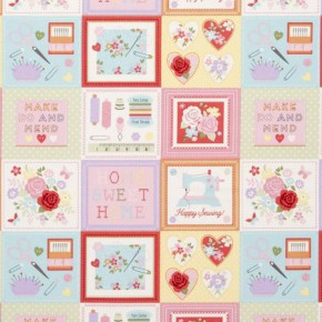 Clarke and Clarke Sketchbook Craftwork Pink Curtain Fabric