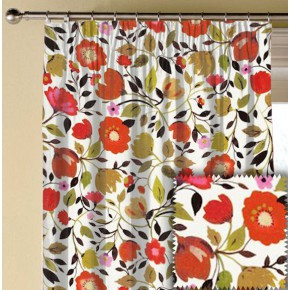 Clarke and Clarke Artbook Red Tulips Linen Autumn Made to Measure Curtains