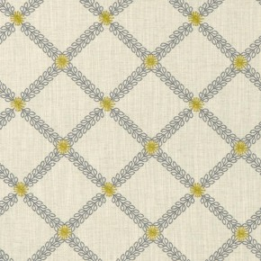 Clarke and Clarke Bloomsbury Cressida Charcoal/charteuse Curtain Fabric