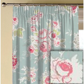 Clarke and Clarke Garden Party Rose Garden Aqua Made to Measure Curtains