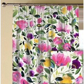 Clarke and Clarke Artbook Rosina Linen Fuchsia Made to Measure Curtains
