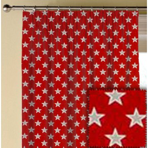 Clarke and Clarke Garden Party Shooting Stars Red Made to Measure Curtains