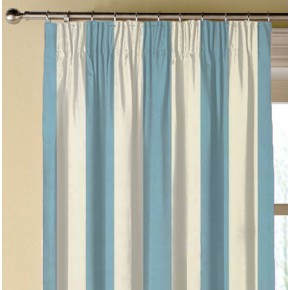 Clarke and Clarke Chateau St James Stripe Aqua Made to Measure Curtains