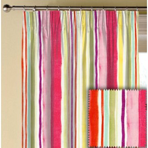 Clarke and Clarke Artbook Sunrise Stripe Linen Multi Made to Measure Curtains