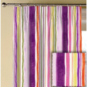 Clarke and Clarke Artbook Sunrise Stripe Linen Passion Made to Measure Curtains