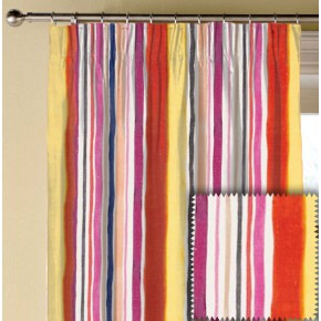 Clarke and Clarke Artbook Sunrise Stripe Linen Spice Made to Measure Curtains