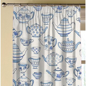 Clarke and Clarke Blighty Teatime Blue Made to Measure Curtains