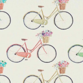 A Village Life  Cycles  Cream  Curtain Fabric