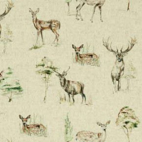 Clarke and Clarke Countryside Deer Linen Curtain Fabric