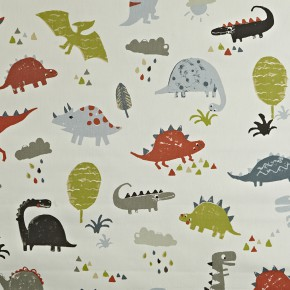 Prestigious Textiles Playtime Dino Orange Curtain Fabric