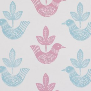 Clarke and Clarke Storybook Doves Pink Curtain Fabric