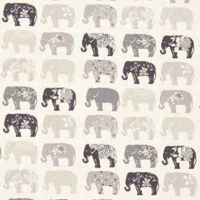 Clarke and Clarke Blighty Elephants Natural Curtain Fabric