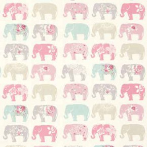 Clarke and Clarke Blighty Elephants Pastel Curtain Fabric