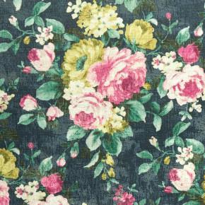 Clarke and Clarke  Colony Emeline Indigo Curtain Fabric