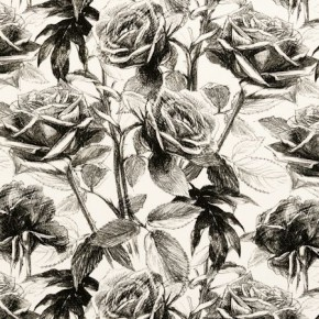 Clarke and Clarke Floribunda Empress Rose BlackWhite Roman Blind