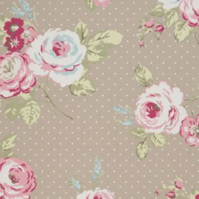 Clarke and Clarke Vintage Classics English Rose Taupe Curtain Fabric