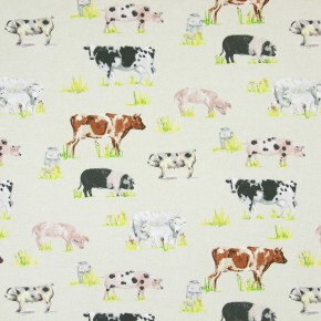 Country Fair Farmyard Animals Linen Curtain Fabric