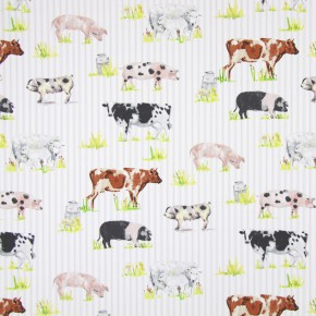 Country Fair Farmyard Animals Watercolour Curtain Fabric