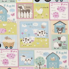 Clarke and Clarke Farm Yard Pastel Curtain Fabric