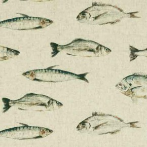 Clarke and Clarke Countryside Fish Linen Curtain Fabric