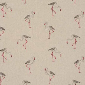 Clarke and Clarke Fougeres Flamingo Linen Curtain Fabric