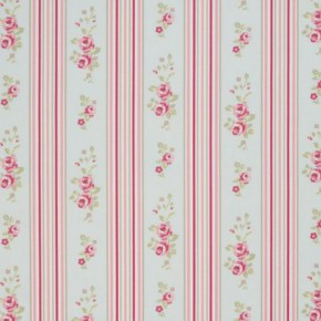 Clarke and Clarke Vintage Classics Floral Stripe Duckegg Made to Measure Curtains
