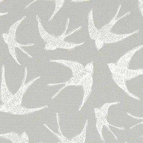 A Land and Sea Fly Away Grey  Curtain Fabric