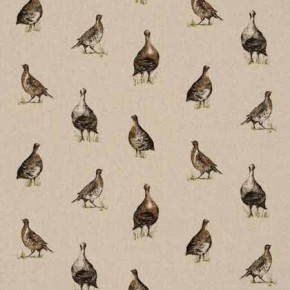 Clarke and Clarke Fougeres Gamebirds Linen Curtain Fabric