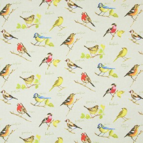 Country Fair Garden Birds Linen Curtain Fabric