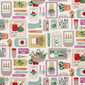 Clarke and Clarke Sketchbook Gardening Spring Curtain Fabric