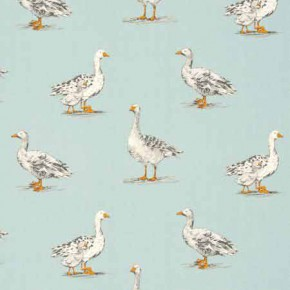 Clarke and Clarke Blighty Geese Duckegg Curtain Fabric