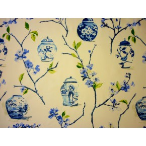 DrawingRoom Ginger Jars Cobalt Curtain Fabric