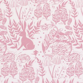 Clarke and Clarke Storybook Hedgerow Pink Curtain Fabric