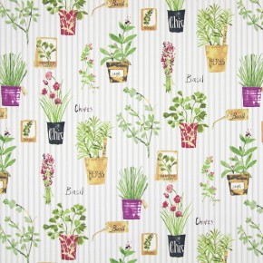 Country Fair Herb Pots Sage Curtain Fabric