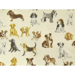 Novelty Hot Dog Natural Curtain Fabric