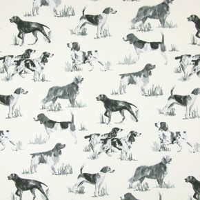 Country Fair Hounds Charcoal Curtain Fabric