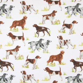 Country Fair Hounds Tan Curtain Fabric