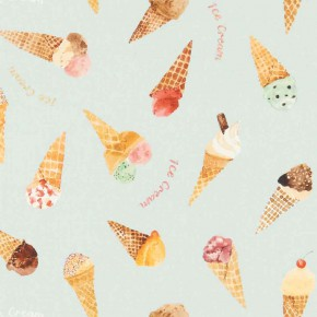 A Village Life  Ice Cream Parlour Blue  Curtain Fabric