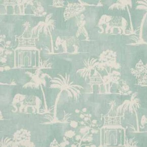 Clarke and Clarke Indienne Mandir Aqua Curtain Fabric