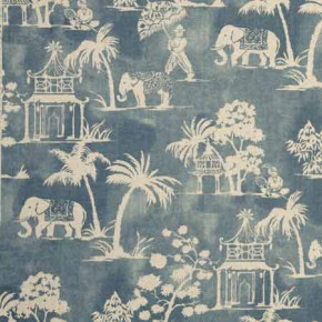 Clarke and Clarke Indienne Mandir Denim Curtain Fabric