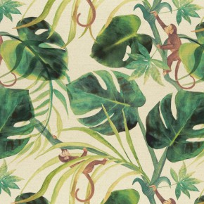 Clarke and Clarke  Colony Monkey Business Natural Curtain Fabric