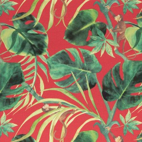 Clarke and Clarke  Colony Monkey Business Rouge Curtain Fabric